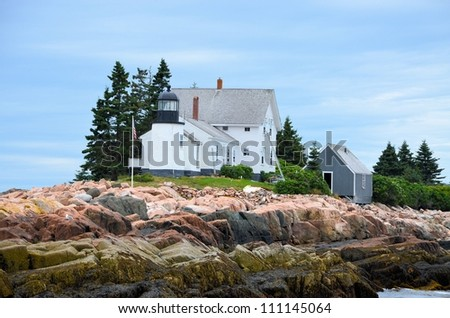 One of several lighthouses in Bar Harbor area of Maine - stock photo