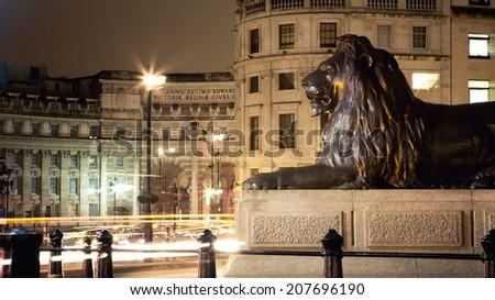 One of the bronze Lions of Trafalgar Square at night, London, UK - stock photo