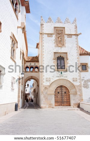One of the buildings of the Maricel Museum of Sitges. - stock photo