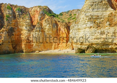 One of the few isolated beaches that can be reached only by boat near to Lagos, The Algarve, Portugal