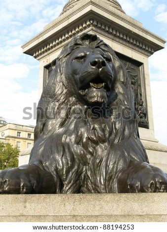 One of the lions on Trafalgar square in London in England - stock photo