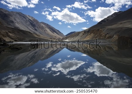 One of the magnificent views near Pangong Tso in Ladakh India.  - stock photo