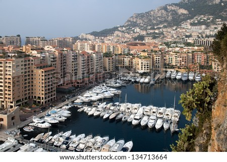 One of the many beautiful yacht marina on the Cote d'Azur. Here, the port of Monaco. - stock photo