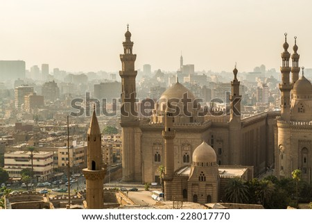 One of the many grand mosques found in capital city of Egypt, Cairo - stock photo