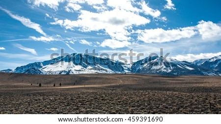 One of the many mountain ranges in the Eastern Sierras. - stock photo