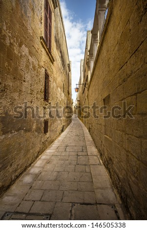 One of the Mdina street's - Malta - stock photo