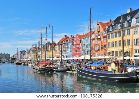 One of the most beautiful and romantic places in  Copenhagen - Nyhavn Harbor - stock photo