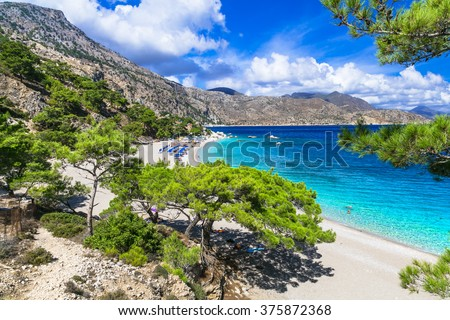 one of the most beautiful beaches of Greece - Apella, Karpathos - stock photo