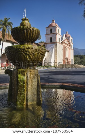 One of the most beautiful missions in California, Santa Barbara Mission - stock photo