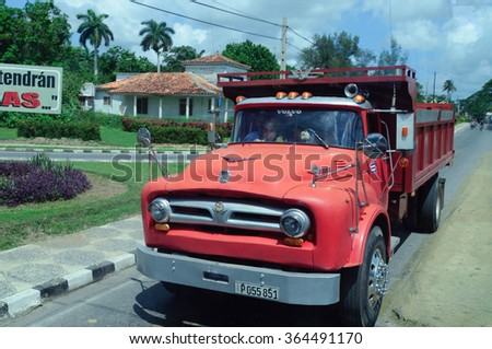 One of the most common types of transport in Cuba. This type of transport are often converted in a passenger bus. /Old ford truck/ Valle Vinales, Pinar del Rio, Cuba - August 6, 2015 - stock photo