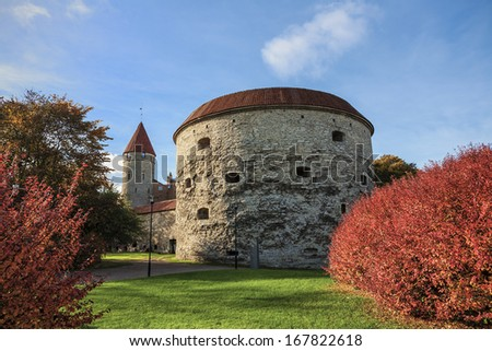 One of the most famous landmarks of Tallinn - an old tower called Fat Margaret - stock photo