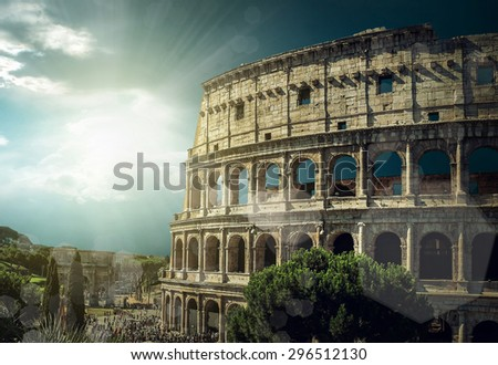 One of the most popular travel place in world - Roman Coliseum. - stock photo