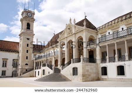 One of the oldest buildings in the University of Coimbra, Portugal - stock photo