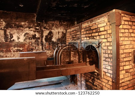 One of the original crematoriums at Auschwitz, Poland - stock photo