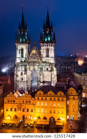 One of the Prague symbols, Church of Our Lady of Tyn, with gothic facade and 80 meters towers