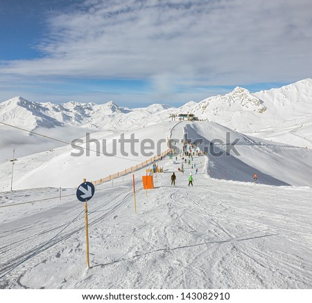 One of the ski slopes in a ski resort of a valley of the Zillertal - Mayrhofen, Austria - stock photo