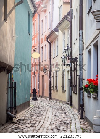 One of the small streets in the Old Town of Riga, Latvia.