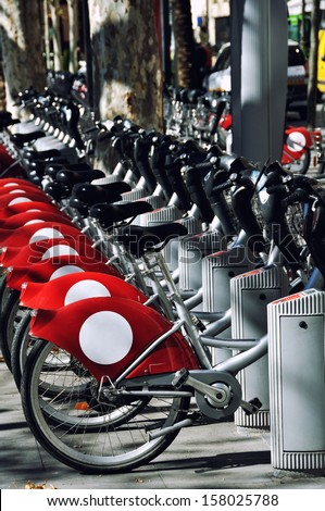 One of the stations of city bicycle system in Seville, Andalusia, Spain - stock photo