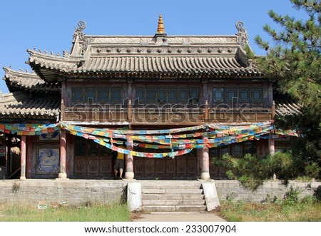 One of the temples of ancient Wusutu Zhao Buddhist Monastery (Ming dynasty) near Hohhot, Inner Mongolia, northern China - stock photo