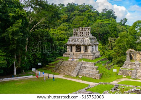 One of the temples of Palenque, was a pre-Columbian Maya civilization of Mesoamerica. Known as Lakamha (Big Water). UNESCO World Heritage
