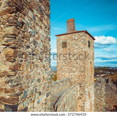 One of the Towers of the castle of Braganza. - stock photo