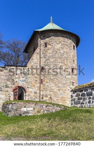 One of the towers of the fortress of Akershus. Oslo. Norway - stock photo
