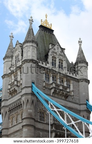One of the two towers of the Tower Bridge in London, UK - stock photo