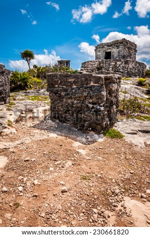 One of the well preserved Mayan sites in Tulum, Mexico on Yucatan Peninsula. Part of the precolumbian Maya walled city, which served as a mayor port.