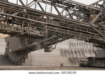 One of the world's largest excavators digging lignite (brown-coal) in of the world's deepest open-pit mines - stock photo