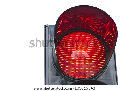 One of traffic light signal shows red light - stock photo