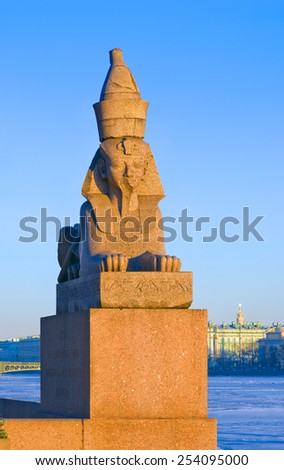 One of two ancient Egyptian Sphinx on Universitetskaya (Univercity) quay of Neva river  in front of the Academy of Arts in St.Petersburg, Russia. The Sphinxes are about 3500 years old. Focus on Sphinx - stock photo