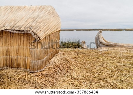 One of Uros floating islands, Titicaca lake, Peru