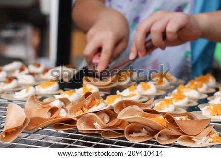 One off the famous home made Thai crispy pancake - stock photo