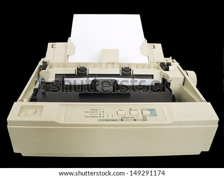 one old and dirty dot matrix printer - stock photo