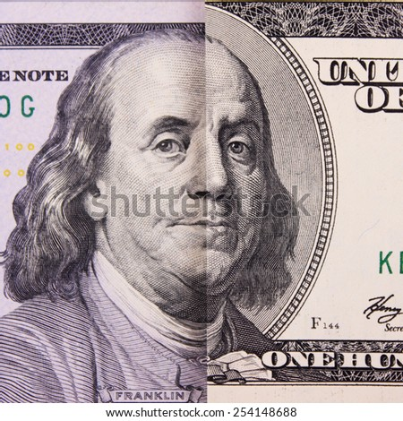 One old and new parts of hundred dollar banknote (details)
