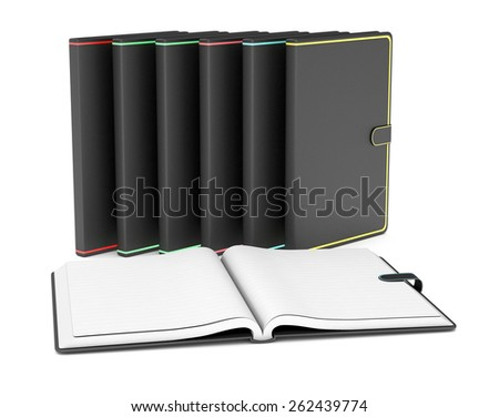 one open paper notebook and a row of closed paper notebooks on white background (3d render) - stock photo