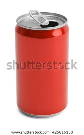 One Open Red Soda Can With Copy Space Isolated on White Background.