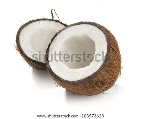 One opened coconut on the white background