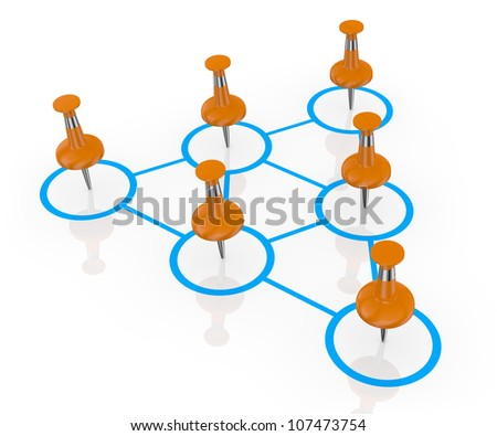 one organization chart with pins instead of men (3d render) - stock photo