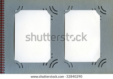One page from photo album with blank cards - stock photo