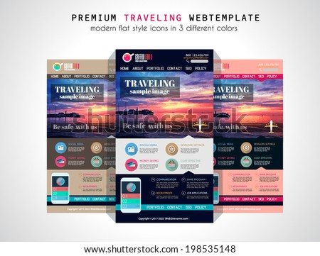 One page website flat UI design template. It include a lot of flat stlyle icons, forms, header, footeer, menu, banner and spaces for pictures and icons all in one page. - stock photo
