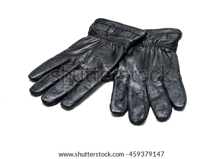 One pair of black artificial leather gloves on white background