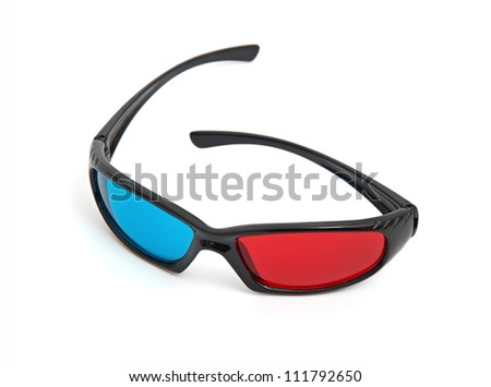 one pair of 3D glasses isolated in white - stock photo