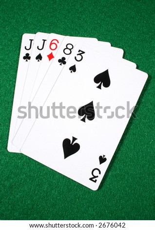 One pair, the ninth highest ranked hand in Texas Hold'em.