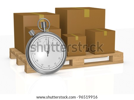 one pallet and some cartons with a stopwatch in front of it, concept of fast delivery (3d render)