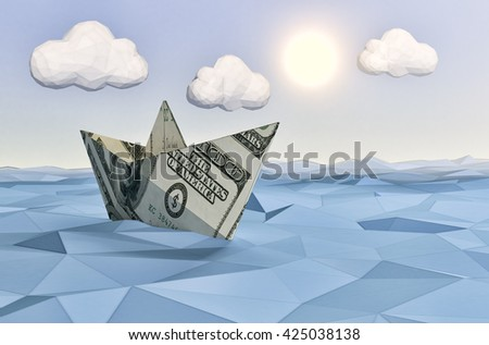 one paper boat made with dollar banknotes on a calm sea and a bright sun, concept of finance security, low-poly style (3d render) - stock photo