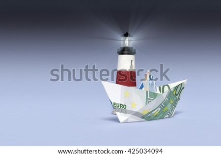 one paper boat made with euro banknotes and a lighthouse, concept of business and finance, empty space at the left (3d render) - stock photo