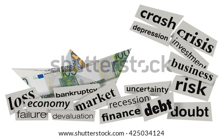 one paper boat made with euro banknotes on a stormy sea made with scraps of paper, with words about financial crisis (3d render) - stock photo