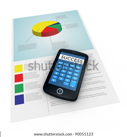 one paper document with financial data and a portable device with a calculator app and the word success instead of numbers (3d render)
