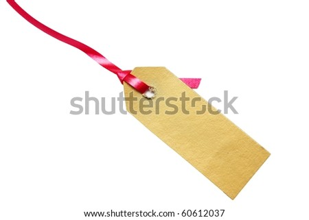 one paper tag on white - stock photo